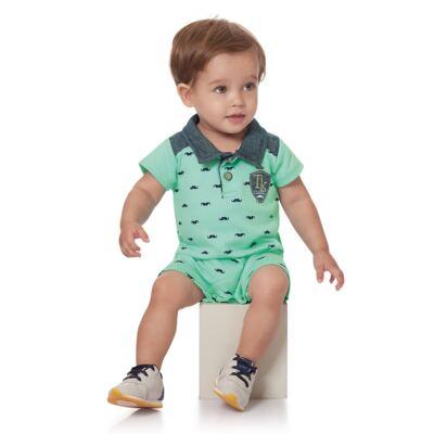 Imagem 2 do produto Macacão Polo em suedine Mustacho Verde - Time Kids - TK5117.VD MACACÃO CLASSIC SUEDINE VERDE-G