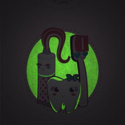 Imagem 3 do produto Pijama curto que Brilha no Escuro Dentinha - Cara de Criança - U2881 TIME SORRISO FEM U PIJAMA CURTO M/MALHA-2
