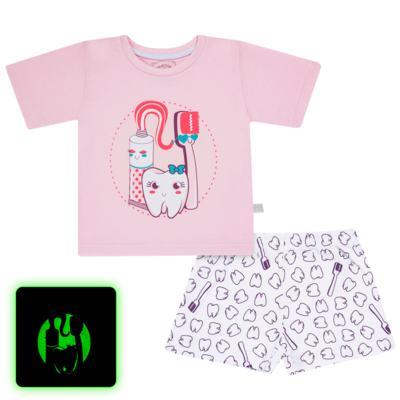 Imagem 1 do produto Pijama curto que Brilha no Escuro Dentinha - Cara de Criança - U2881 TIME SORRISO FEM U PIJAMA CURTO M/MALHA-1