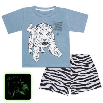 Imagem 1 do produto Pijama curto que Brilha no Escuro Tigre Branco - Cara de Criança - U2283 TIGRE BRANCO U PIJAMA CURTO M/MALHA-2