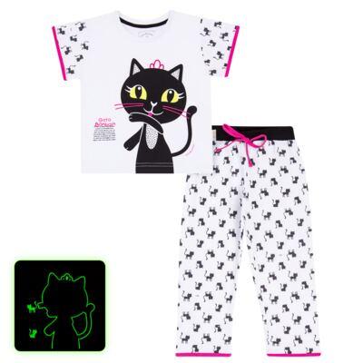 Imagem 1 do produto Pijama curto em malha que Brilha no Escuro Gata Bombaim - Cara de Criança - C2893 GATA BOMBAIM C PJ-MG CURTA C/CALCA M/MALHA-2