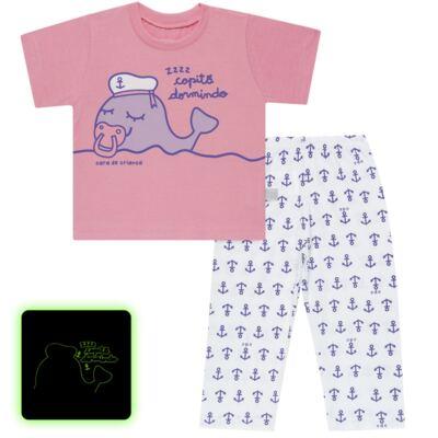 Imagem 1 do produto Pijama curto que Brilha no Escuro Miss Captain - Cara de Criança - BC1942 BALEINHA BC PJ-BB CURTA C/CALCA M/MALHA-P