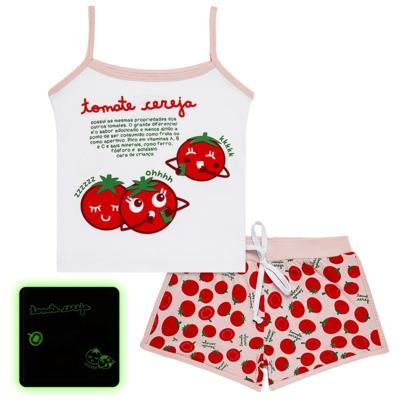 Imagem 1 do produto Pijama Regata que Brilha no Escuro Tomatinho Cereja - Cara de Criança - R2277 TOMATE CEREJA R PJ REGATA COTTON -1