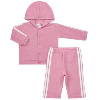 Imagem 1 do produto Casaco c/ capuz e Calça para bebe em soft Rosa - Tilly Baby - TB0172020.10 CONJ. CASACO COM CALÇA SOFT ROSA-1