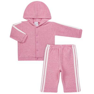 Imagem 1 do produto Casaco c/ capuz e Calça para bebe em soft Rosa - Tilly Baby - TB0172020.10 CONJ. CASACO COM CALÇA SOFT ROSA-GG