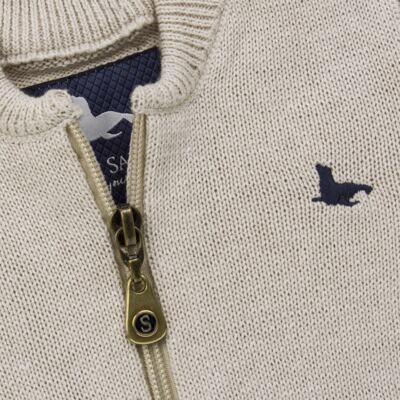 Imagem 2 do produto Casaquinho para bebe em tricot Caqui - Mini Sailor - 75494267 CASACO BASICO ZIPER TRICOT CAQUI-9-12