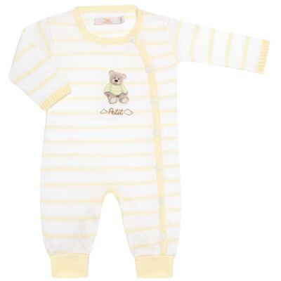 """Imagem 1 do produto Macacão longo com abertura """"S"""" para bebe em tricot Ursinho - Petit - 22364422 Macacão """"S"""" Tricot Amarelo -P"""