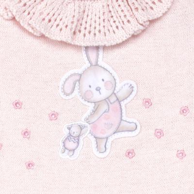 Imagem 2 do produto Macacão longo c/ golinha para bebe em tricot Lapine - Petit - 22334421 Macacão Fem c/ Babad na Gola Tricot Rosa-RN