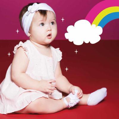 Imagem 2 do produto Kit Faixa de cabelo e meia sapatilha para bebe Flor Branca - Puket - PK6934L-B Kit Faixa de Cabelo + Meia Sapatilha Branco -5/8