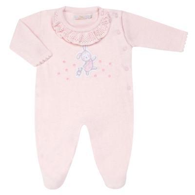 Imagem 1 do produto Macacão longo c/ golinha para bebe em tricot Lapine - Petit - 22334421 Macacão Fem c/ Babad na Gola Tricot Rosa-P