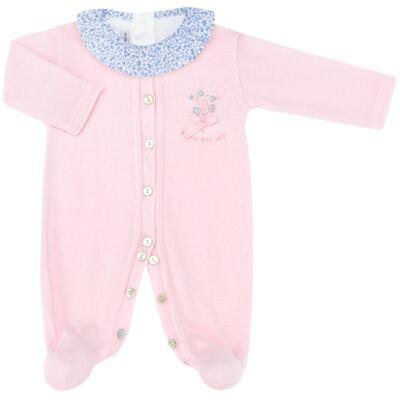 Imagem 1 do produto Macacão longo c/ Body regata para bebe em tricot Liberty - Mini Sailor - 17344441 Macacão Longo c/ Body Tricot Rosa-0-3