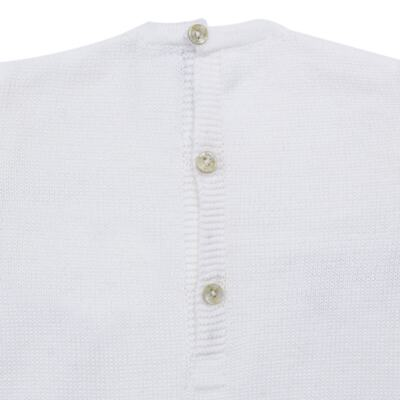 Imagem 3 do produto Macacão longo para bebe em tricot Navy - Mini Sailor - 21744260 MACAO RECORTE E LACINHOS TRICOT BRANCO-0-3