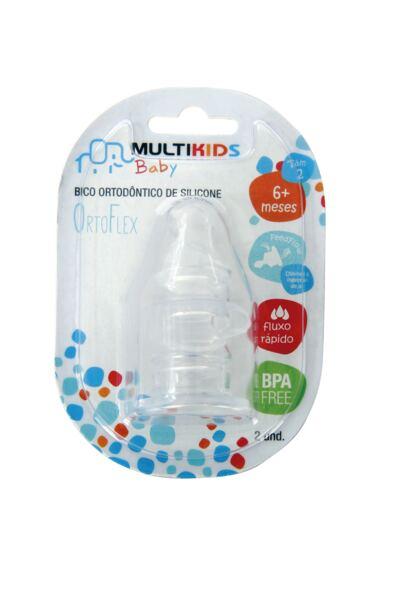 Imagem 2 do produto Bico de Silicone Ortoflex Tam 2 Fluxo Rápido 2 Und Multikids Baby - BB124