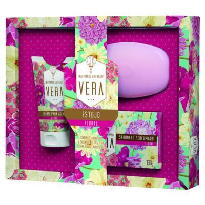 Imagem 1 do produto Kit Vera Floral 2 Sabonetes + 1 Saboneteira + 1 Creme para Mãos