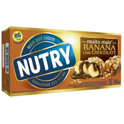 Imagem 1 do produto Barra de Cereal Nutry Frutas Banana com Chocolate 20g 3 Unidades