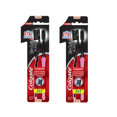 Imagem 1 do produto Escova Dental Colgate Slim Soft Black Leve 2 Pague 1 - 2 Packs