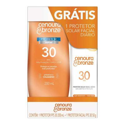 Imagem 1 do produto Kit Protetor Solar Cenoura & Bronze FPS 30 Loção 200ml + Grátis Protetor Solar Facial FPS 30 50g