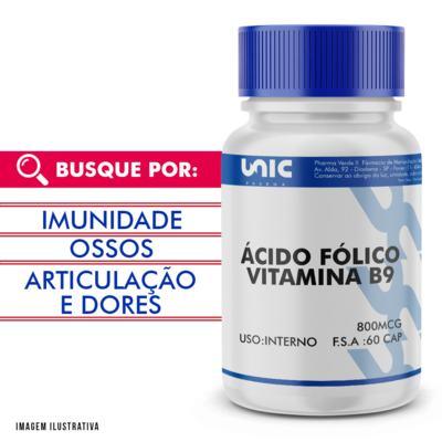 Vitamina B9 (Ácido Fólico) 800mcg - 120 Cápsulas