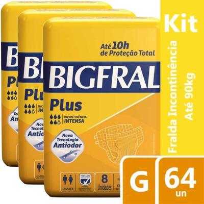 Imagem 1 do produto Kit Fralda Geriátrica Bigfral Plus G 64 unidades
