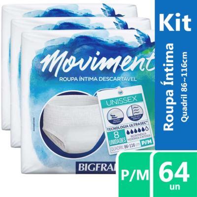 Imagem 2 do produto Kit Roupa Íntima Descartável Bigfral Moviment P/M 64 unidades