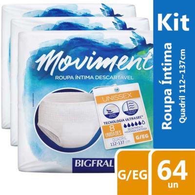 Imagem 2 do produto Kit Roupa Íntima Descartável Bigfral Moviment G/EG 64 unidades