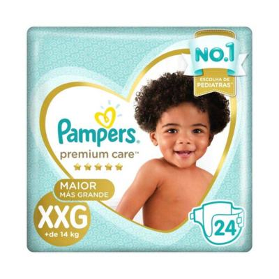 Kit Fralda Pampers Premium Care Tamanho XXG Pacote Mega 192 unidades