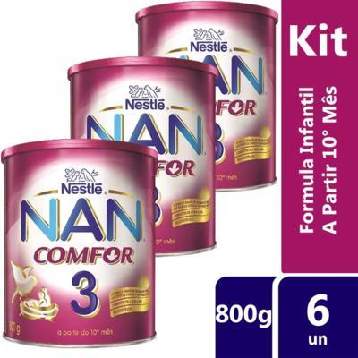 Imagem 3 do produto Kit Nan Comfor 3 800g 6 unidades Vencimento 01/08/2019 - Kit Nan Comfor 3 800g 6 unidades