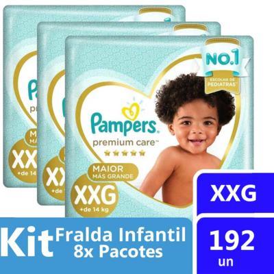 Imagem 2 do produto Kit Fralda Pampers Premium Care Tamanho XXG Pacote Mega 192 unidades