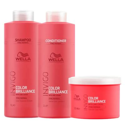 Imagem 1 do produto Kit Invigo Color Brilliance Tamanho Profissional Wella - Shampoo + Condicionador + Máscara - Kit