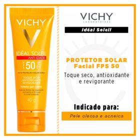 Protetor Solar Facial Ideal Soleil Anti-Idade Vichy - Fps50 | 40g