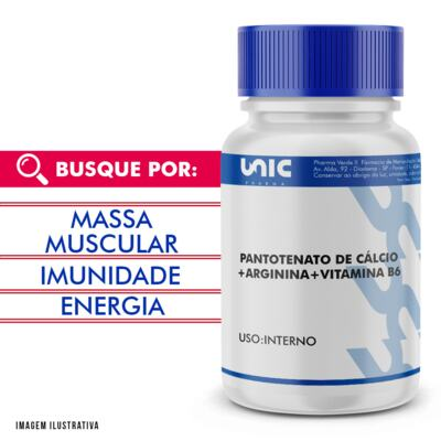 Imagem 1 do produto Arginina + pantotenato de cálcio  + Vitamina B6 - 120 Cápsulas