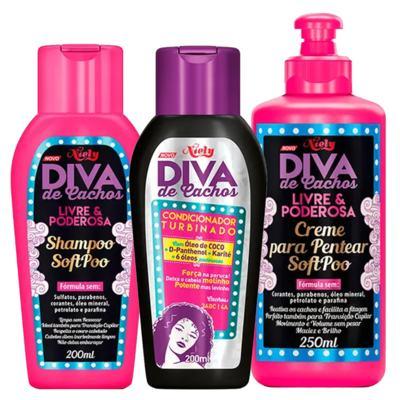Diva de Cachos Soft Poo Niely - Shampoo + Condicionador + Creme para Pentear - Kit