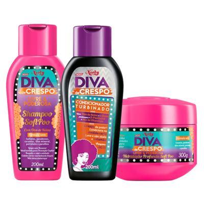 Diva de Crespo Soft Poo Niely - Shampoo + Condicionador + Tratamento - Kit