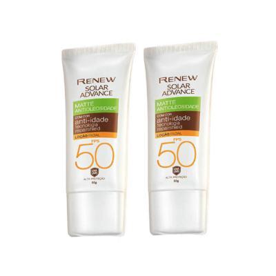 Imagem 1 do produto Kit Protetor Solar Facial  Renew Advance Matte com Cor Anti-Idade FPS 50 - Média - 50g