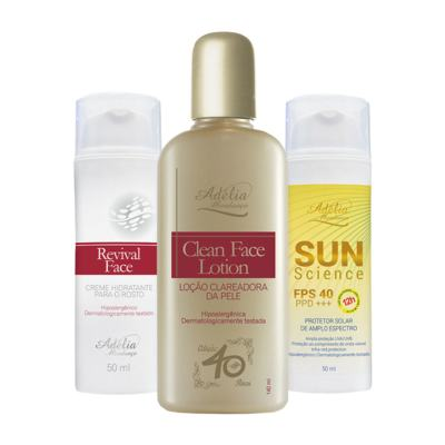 Imagem 1 do produto Kit Fotoproteção (Clean Face Lotion + Revival Face + Sun Science) - 3 produtos