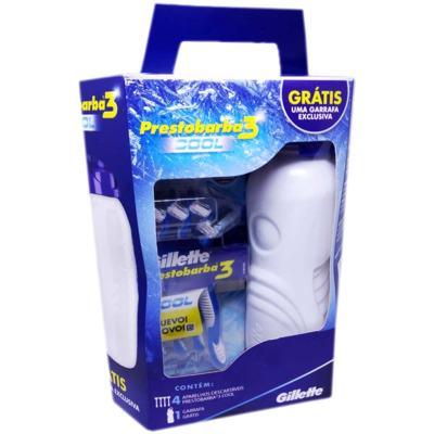 Imagem 1 do produto Kit Aparelho de Barbear Gillette Prestobarba 3 Cool 4 Unidades + Grátis Garrafa