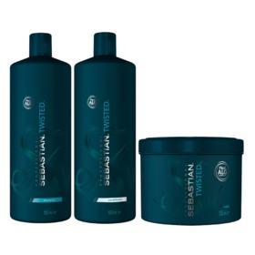 Kit Twisted Elastic Detangler Sebastian - Shampoo + Condicionador + Máscara - Tamanho Profissional - Kit