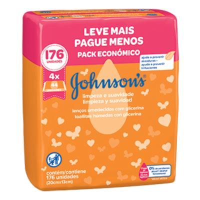 Lenço Umedecido Johnson's Baby - Limpeza e Suavidade | 176 unidades