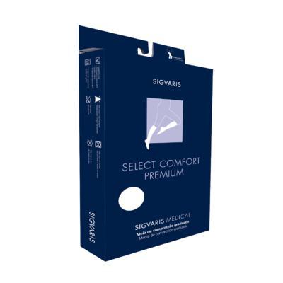 Imagem 2 do produto Meia Panturrilha 20-30 Select Comfort Premium Sigvaris - Longa Natural Ponteira Aberta XG