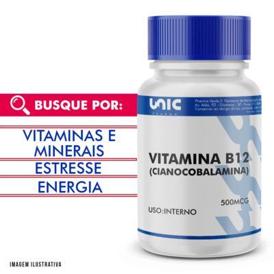 Imagem 1 do produto Vitamina b12 (cianocobalamina) 500mcg - 120 Cápsulas
