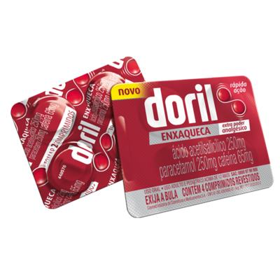 Doril Enxaqueca - 250mg + 250mg + 65mg,   4 comprimidos revestidos