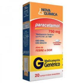 Paracetamol Genérico Nova Quimica - 750mg   4 comprimidos