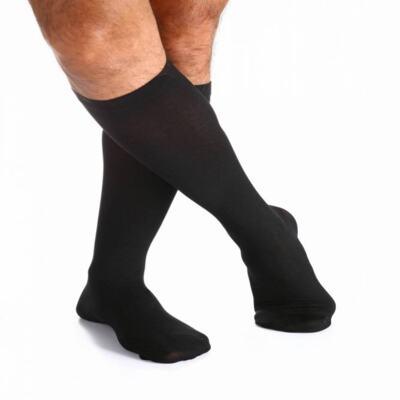 Imagem 1 do produto Meia Panturrilha 20-30 Algodão Super Sigvaris - Longa Preta Ponteira Fechada XG