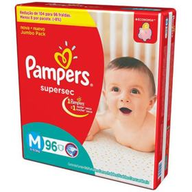 Fralda Pampers Supersec Jumbo - M | 96 unidades