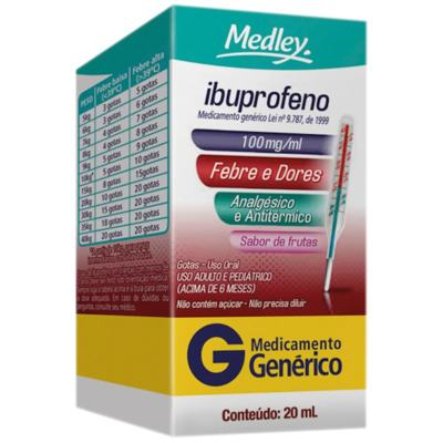 Ibuprofeno Gotas Genérico Medley - 100mg/mL   20mL