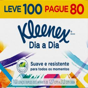 Lenço de Papel Kleenex Box - Original | 100 unidades | Leve 100 Pague 80