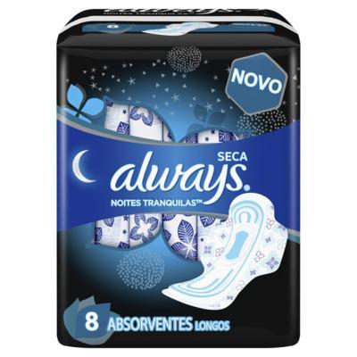 Absorvente Always Noites Tranquilas Cobertura Seca - Com Abas   8 unidades   Leve 8 Pague 7