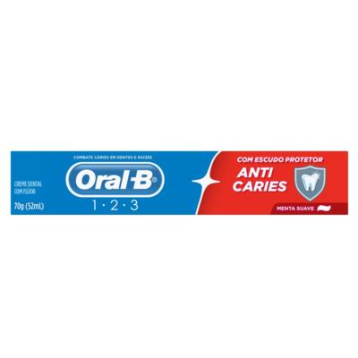 Creme Dental Oral B 1.2.3 Anticáries - Menta Suave | 70g
