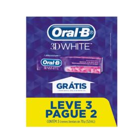 Kit Creme Dental Oral-B - 3D White   3 x 70g   Leve 3 Pague 2