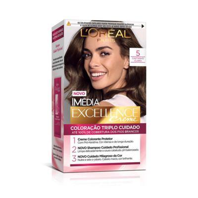 Kit Coloração Creme L'oréal Paris Imédia Excellence - 5.0 Castanho Claro | 1 unidade